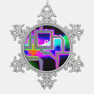 Window into the Universe, Abstract Magenta & Cyan Snowflake Pewter Christmas Ornament