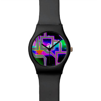 Window into the Universe, Abstract Magenta & Cyan Watches