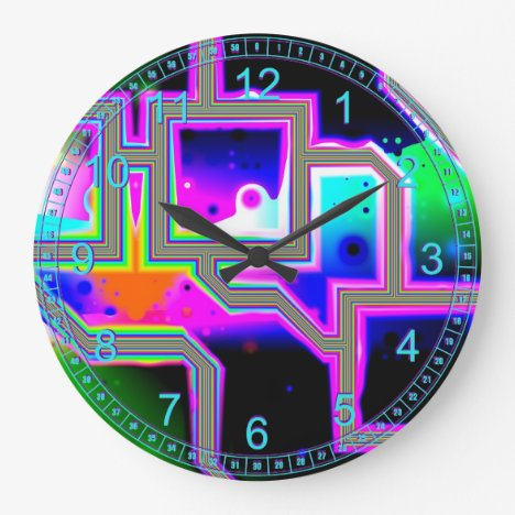 Window into the Universe – Magenta & Cyan Abstract Large Clock