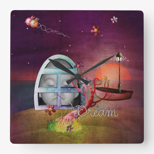 Window of Dreams Photo Frame Square Wall Clock