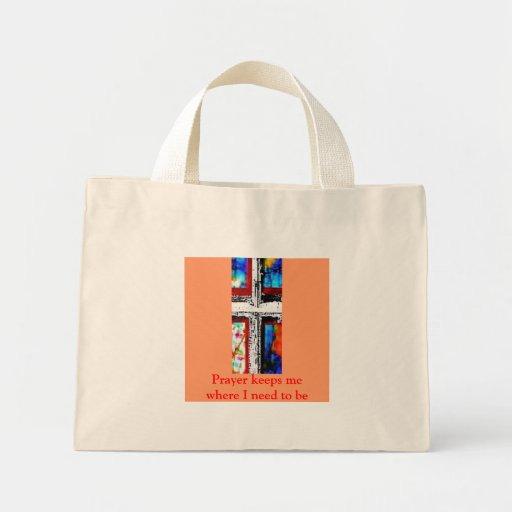 Window Pane Cross -Red Trim Mini Tote Bag