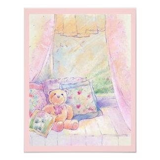 "Window Seat Teddy Bear Pretty Pink Invitations 4.25"" X 5.5"" Invitation Card"