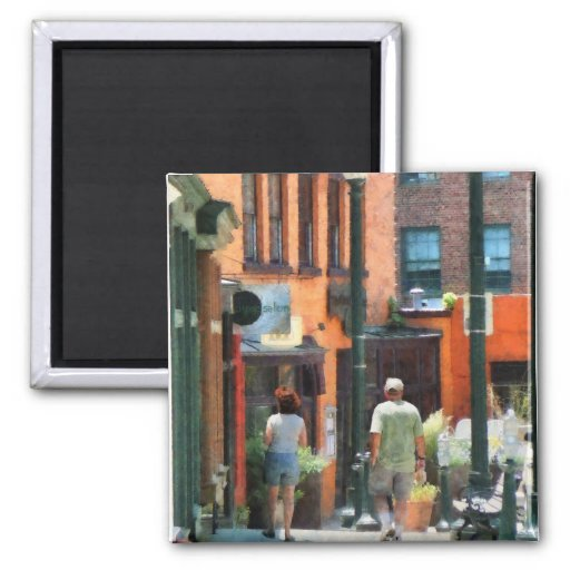 Window Shopping in Downtown Asheville 2 Inch Square Magnet