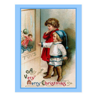 Window Shopping Vintage Christmas Card