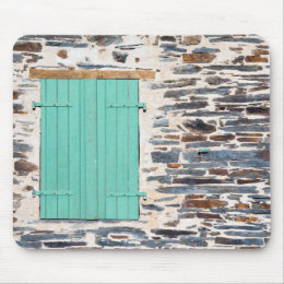Window Shutters on a Rustic Rock Wall Mouse Pad