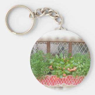Window Sill Spring Basic Round Button Keychain