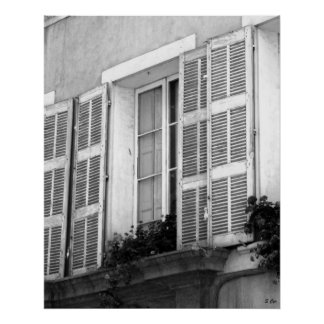 Window to Provence BW Poster