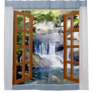 Window View Garden Waterfall with Koi Pond Shower Curtain
