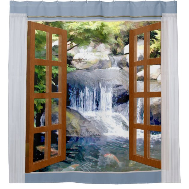 Window View Garden Waterfall With Koi Pond Shower Curtain | Zazzle
