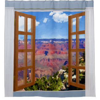Window View Grand Canyon National Park Shower Curtain