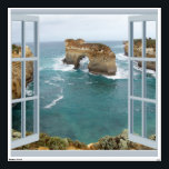"""Window View Ocean Wall Decal<br><div class=""""desc"""">Available in 3 sizes, this is the largest size and can be removed up to 100 times. See the lovely rock formation through the open window looking out over the sea, makes you feel like you could pop out and take a swim. Why a decal in a poster section, well...</div>"""