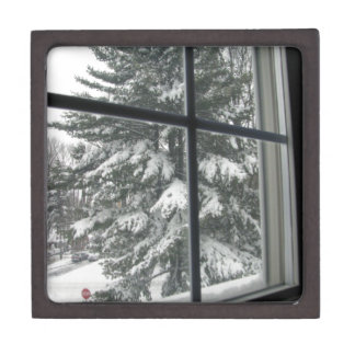 Window View of Snow Covered Evergreen Jewelry Box
