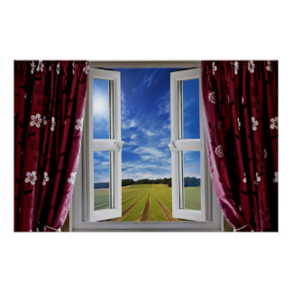 Window view onto arable farmland and blue skies poster
