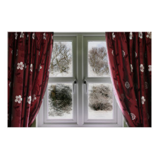 Window view to a snow scene poster