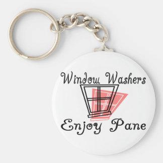 Window Washers Basic Round Button Keychain