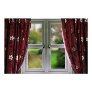 Window with garden view poster