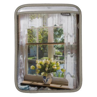 Window with lace curtain and tulips sleeve for iPads