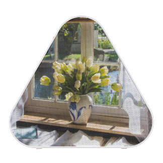 Window with lace curtain and tulips speaker