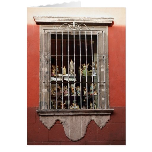 Window with Religious Figurines Greeting Card