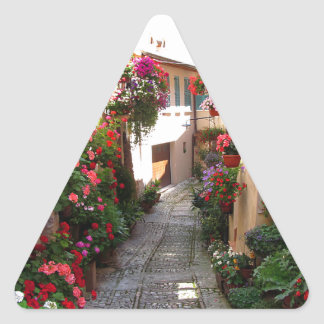 Windows, balcony and flower alleys triangle sticker