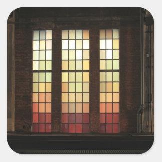 Windows de cristal coloreado en la alta línea pegatinas cuadradas