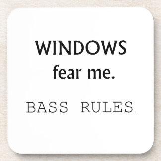 Windows Fear me Bass Rules Bass Guitar Design Beverage Coaster