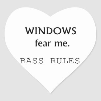 Windows Fear me Bass Rules Bass Guitar Design Heart Stickers