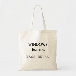 Windows Fear me Bass Rules Bass Guitar Design Tote Bag