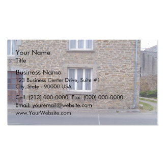 Windows In Rough Stone Wall House With Lace Curtai Business Card