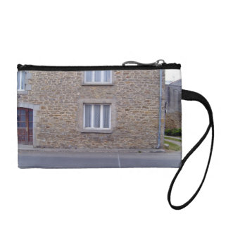 Windows In Rough Stone Wall House With Lace Curtai Change Purse