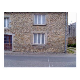 Windows In Rough Stone Wall House With Lace Curtai Postcard