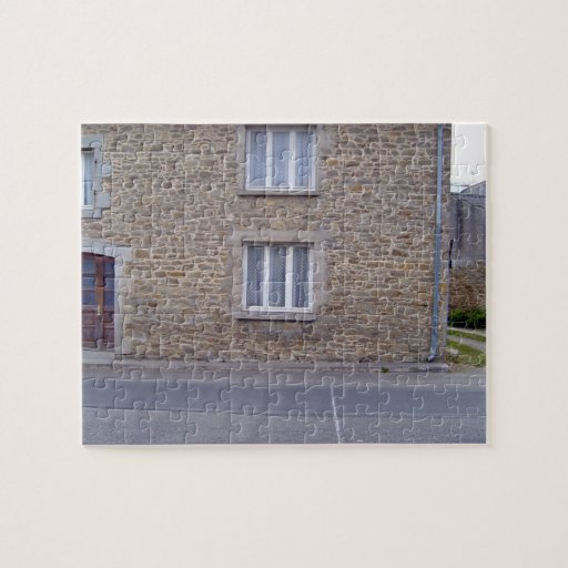Windows In Rough Stone Wall House With Lace Curtai Puzzle