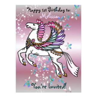 Winds and Wings Pegasus  BIRTHDAY BABY SHOWER Invites