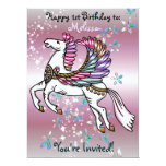 """Winds and Wings Pegasus  BIRTHDAY BABY SHOWER 6.5"""" X 8.75"""" Invitation Card"""