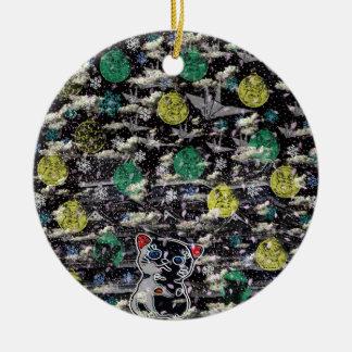 Winds niyanko castle cherry tree snowstorm ceramic ornament
