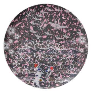 Winds niyanko castle cherry tree snowstorm dinner plate