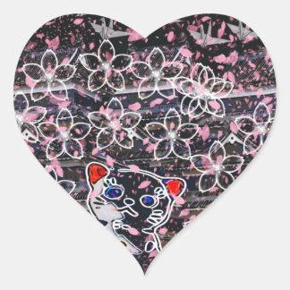 Winds niyanko castle cherry tree snowstorm heart sticker
