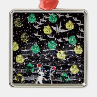 Winds niyanko castle cherry tree snowstorm metal ornament