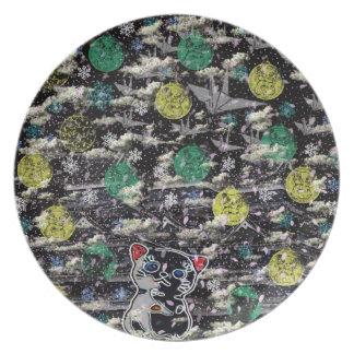 Winds niyanko castle cherry tree snowstorm plate
