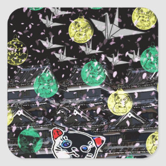 Winds niyanko castle cherry tree snowstorm square sticker