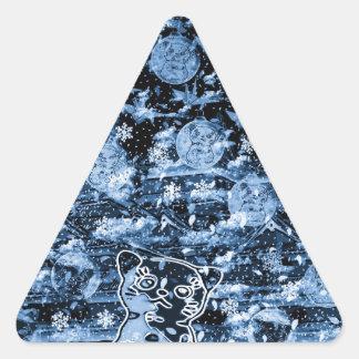Winds niyanko castle cherry tree snowstorm triangle sticker
