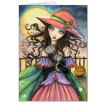 Winds of Halloween Witch and Tabby Cat Art Greeting Card