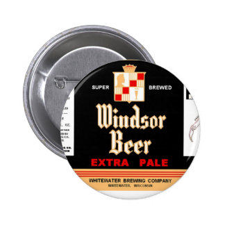 WINDSOR BEER Whitewater brewing WISCONSIN Design Pinback Button