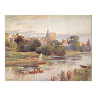 Windsor Castle and river Thames 1910 Postcard