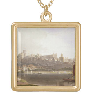 Windsor Castle from the River Meadow on the Thames Gold Plated Necklace
