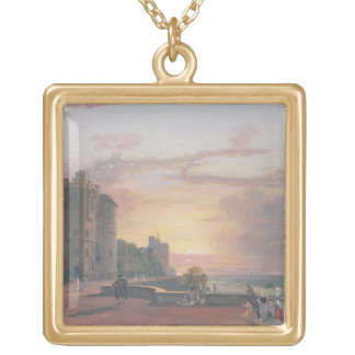 Windsor Castle: North Terrace looking west at suns Gold Plated Necklace
