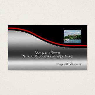 Windsor Castle River Thames, red swoosh metal-look Business Card