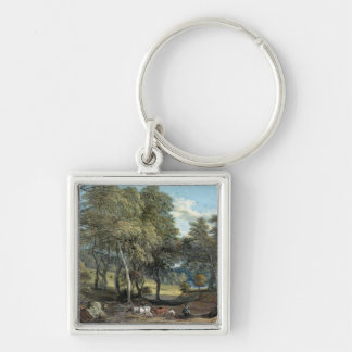Windsor Forest with Oxen Drawing Timber, 1798 Keychain