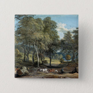 Windsor Forest with Oxen Drawing Timber, 1798 Pinback Button