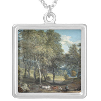 Windsor Forest with Oxen Drawing Timber, 1798 Silver Plated Necklace